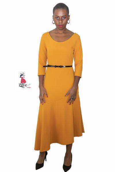 ELLEN μοντελο φοραει midi φορεμα