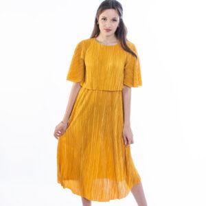 ellen μοντελο φοραει γκοφρέ φορεμα